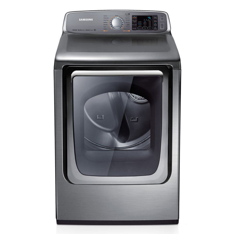 samsung 74 cu ft capacity stainless platinum gas front load dryer with steam dry