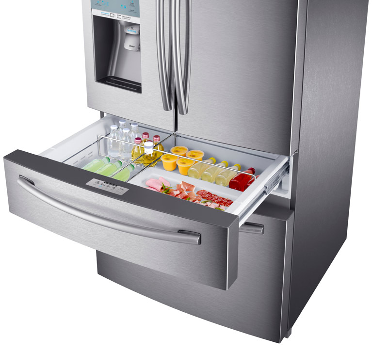 Samsung 4 Door Refrigerator With Automatic Sparkling Water Dispenser  Product Shot