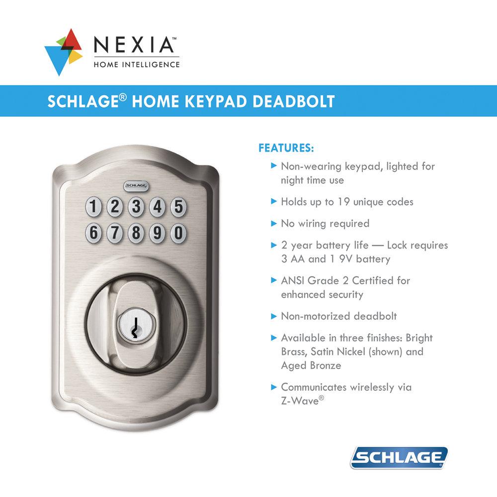Schlage Be369grnx Cam 619 Keypad Deadbolt Home Security
