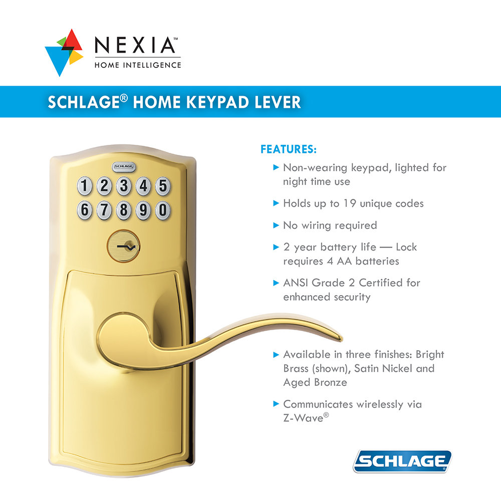 Schlage Fe599grnx Cam 505 Acc 605 Keypad Lever Home