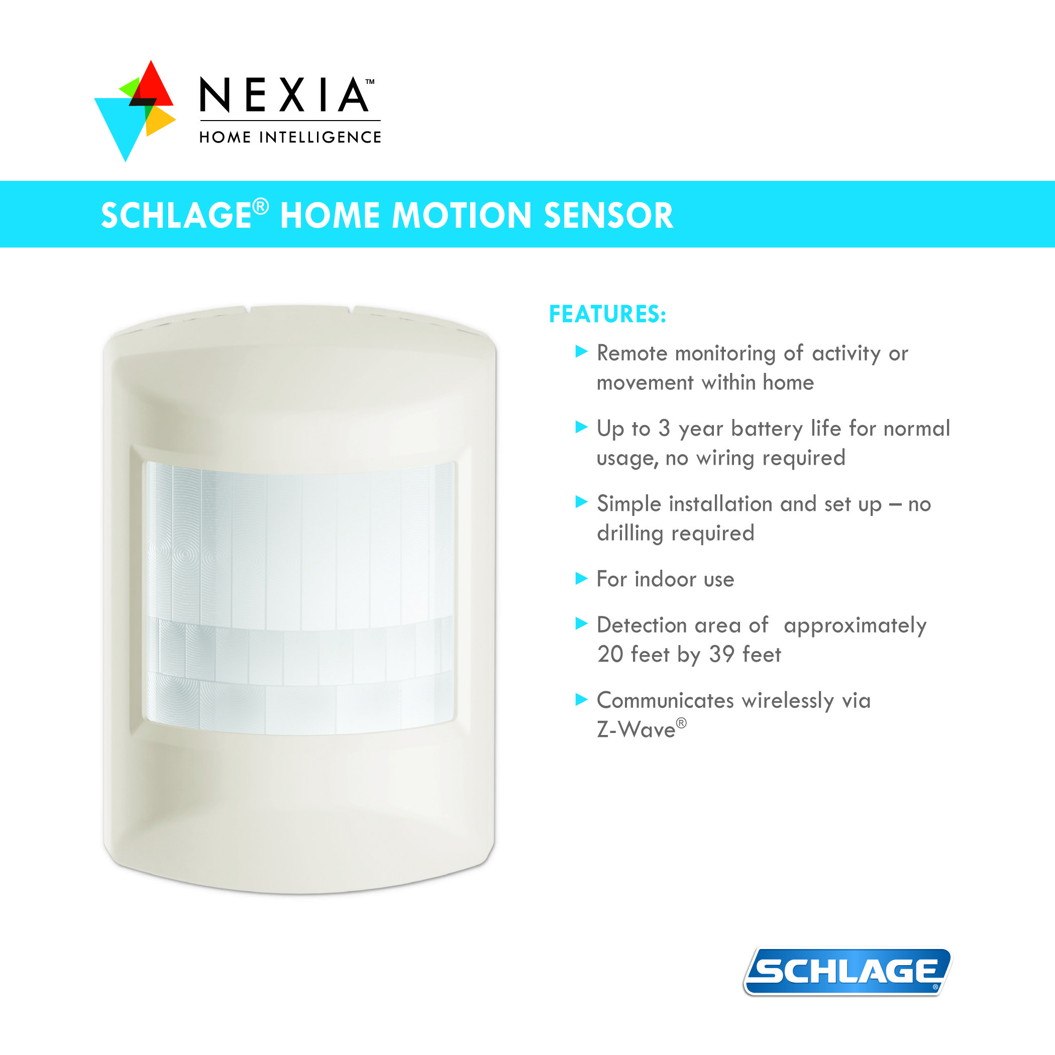 Schlage Z Wave Home Motion Sensor With Nexia Rs200 Cert