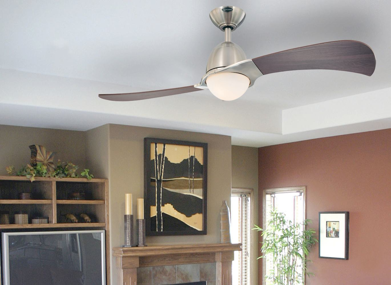 Westinghouse 7216100 solana two light 48 inch two blade indoor ceiling fan brushed nickel with - Westinghouse and living ...