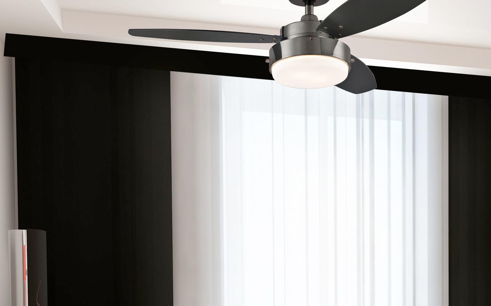 Sea Gull Lighting Windgate 9 In W 3 Light Brushed Nickel: Westinghouse 7876400 Alloy Reversible Three-Blade Indoor