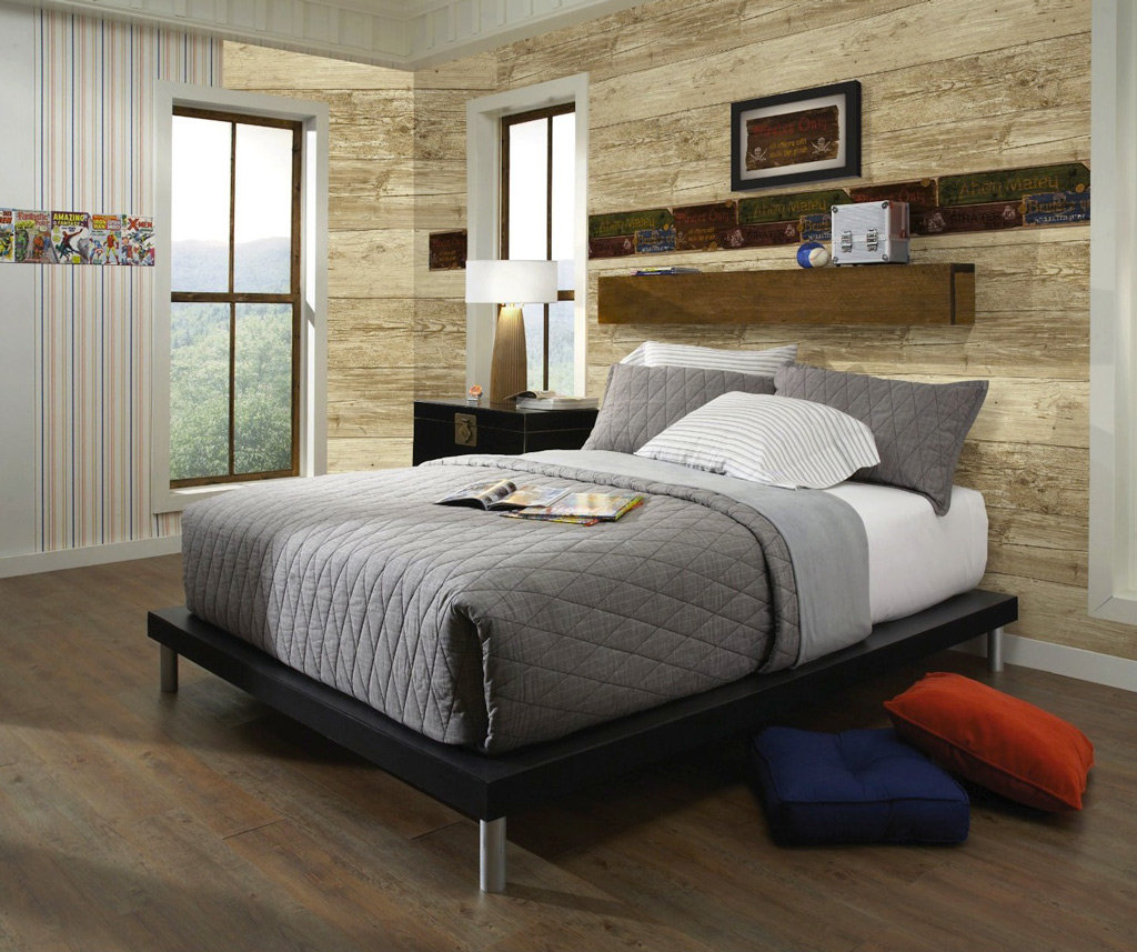 Bedroom Colors With Oak Furniture Small Bedroom Lighting Design Slanted Ceiling Bedroom Ideas Navy Carpet Bedroom: Wall In A Box WIB1008 Pirate Wallpaper, Ash, Pine, Oak