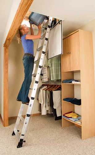 Telescoping Attic Ladder : Werner aa pound duty rating televator aluminum