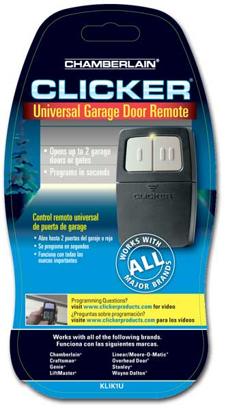 Clicker Universal 2 Button Garage Door Opener Remote Klik1c Works