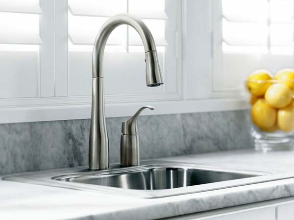 KOHLER K-647-BL Simplice Pull-Down Kitchen Sink Faucet, Matte Black ...