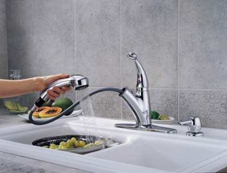 Delta Cicero Single Handle Pull Out Kitchen Faucet With Soap Dispenser
