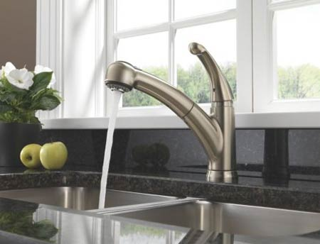 Delta 467-DST Palo Single Handle Pull-Out Kitchen Faucet