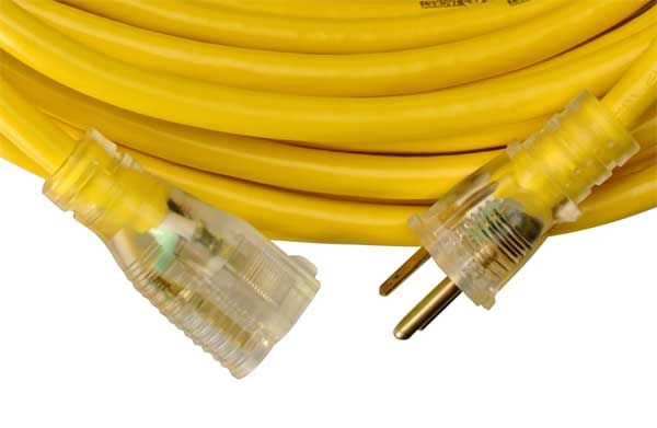 yellow jacket 2883 12 3 heavy duty 15 amp sjtw contractor extension cord lighted end<