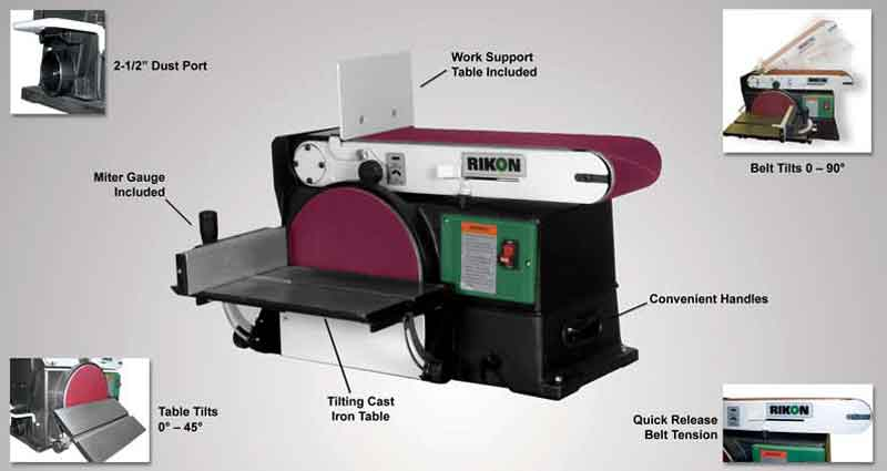 Rikon 50 120 6 by 48 inch belt 10 inch disc sander power for 10 sanding disc for table saw