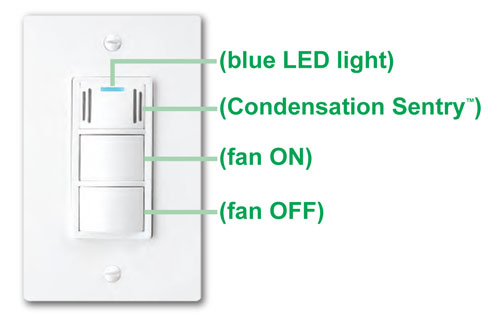Charmant DewStop Condensation Sentry Fan Switch, White