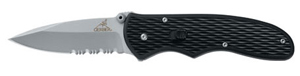 "Gerber Fast Draw Knife, Assisted Opening, Serrated Edge [22-47161] 4 Fast Draw folding knife deploys quickly and easily with one hand. Overall Length 7.13"", Close Length 4.17"", Blade Length 2.99"", Weight 3.6 oz Tactile texturing on nylon handle"