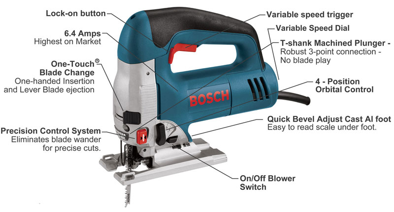 Bosch 1590EVSK 6.4 Amp Top Handle Jigsaw - Power Jig Saws ...