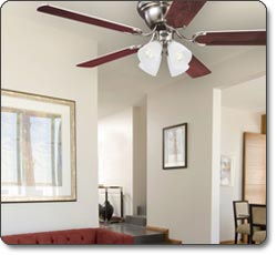 Westinghouse Contempra IV Brushed Nickel Finish, Rosewood/ Bird's Eye Maple Blades, and Frosted Ribbed-Glass Shades