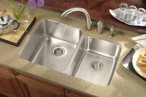 Medium image of houzer mes 3221 medallion gourmet 60 40 double bowl undermount kitchen sink