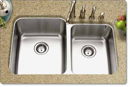 houzer mes 3221 medallion gourmet 60 40 double bowl undermount kitchen sink houzer mes 3221 1 medallion gourmet series undermount stainless      rh   amazon com