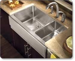 Houzer EPO 3370 Epicure 70/30 Double Bowl Farmhouse Kitchen Sink