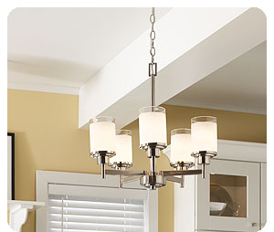 progress lighting p4459 09 5 light alexa chandelier brushed nickel