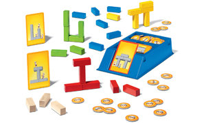 Players use colored blocks to replicate the structure shown on the building cards.