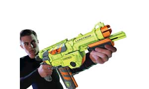 A boy in black aiming a NERF VORTEX LUMITRON