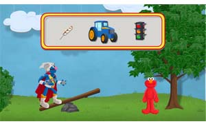 Use a lever to launch Super Grover 2.0 into a tree of toys!