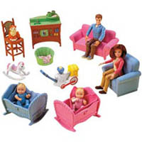 Dolls Included Are A Mother, A Father, Baby Twins, And Pet Cat.