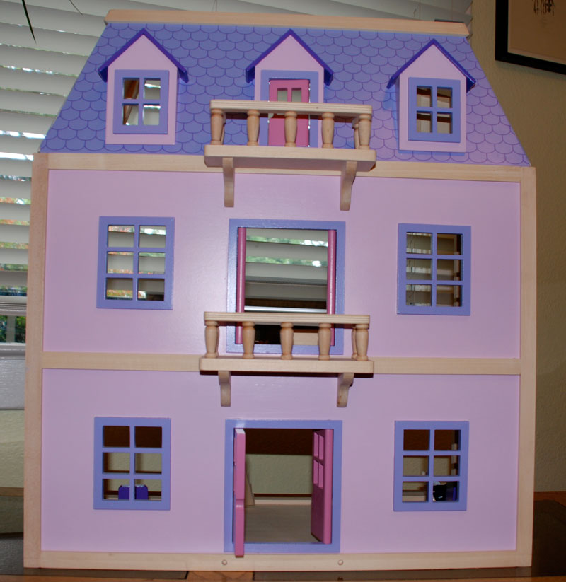 Melissa Doug Multi Level Solid Wood Dollhouse W Family Of 5 Dolls
