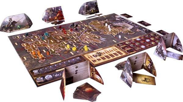 board is enhanced with figures, battle cards, tokens, and overlays