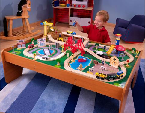 Amazon Com Kidkraft Ride Around Train Set And Table Toys