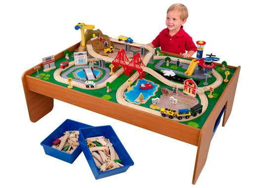 Kidkraft ride around train set and table toys for 100 piece cityscape train set and wooden activity table