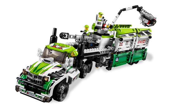 The giant support truck houses a racing buggy and other accessories.