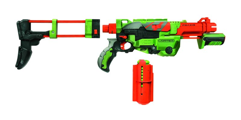 This blaster comes with 10 long range discs and snap-in magazine for