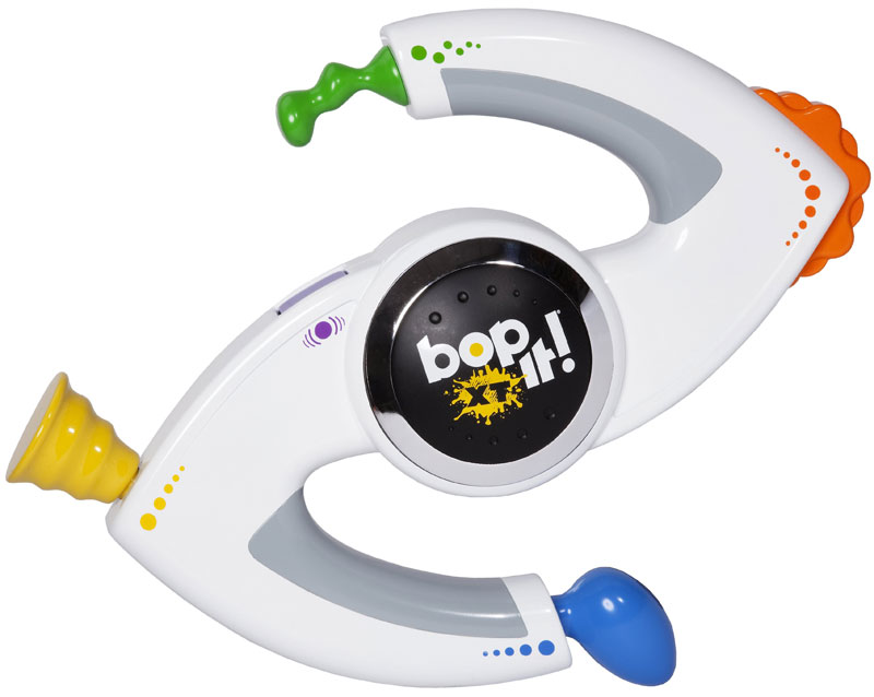 Designed to be shaken, twisted, and pulled, BOP-IT XT keeps kids in