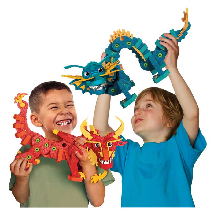 bloco toys aqua and pyro dragons building kit toy toys games. Black Bedroom Furniture Sets. Home Design Ideas
