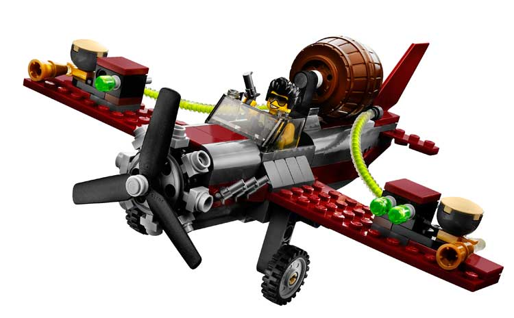 Realistic stunt plane includes a spinning propeller, landing gear, and