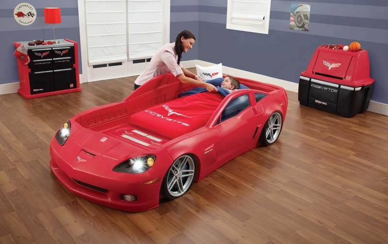 Amazon Com Step2 Corvette Bed With Lights Red Silver