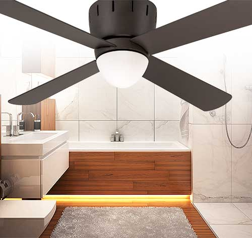 Emerson Ceiling Fans CF530ORB Wyatt Modern Low Profile Hugger Ceiling Fan With Light And Wall Contro
