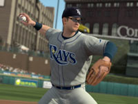 Evan Longoria throwing out a runner in Major League Baseball 2K11