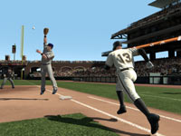 A hitter trying to get a single on hustle in Major League Baseball 2K11