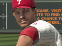Close-up of a Philly pitcher Roy Halladay in Major League Baseball 2K11