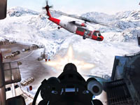 Targeting an airborne helicopter in James Bond: 007 Legends