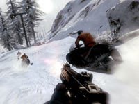 Firing a weapon from a snowmobile in James Bond: 007 Legends