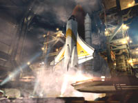 An screenshot of a space shuttle from the Moonraker mission from James Bond: 007 Legends