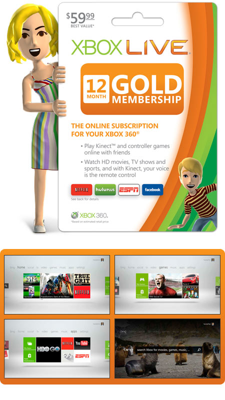 Xbox 360 Live Subscription Gold Card - Save: 33%