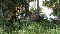 A dinosaur like creature on a rampage in Two Worlds II
