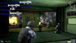 Multiplayer firefight with multiple weapons varieties referenced in SOCOM US Navy SEALs Fireteam Bravo 3