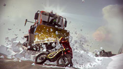 A snowplow busting through a snowbank and bearing down on a bike in 'MotorStorm: Arctic Edge'