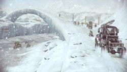 An ice bridge in 'MotorStorm: Arctic Edge'