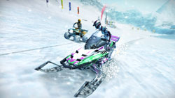 A snowmobile leading an ATV up a slope in 'MotorStorm: Arctic Edge'